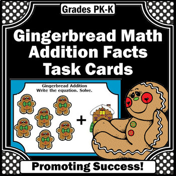 Gingerbread Math Activities Addition Facts Task Cards for