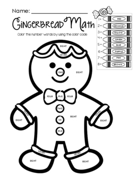 Gingerbread Math - Color by Math Word