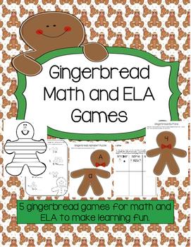 Gingerbread Math and ELA games