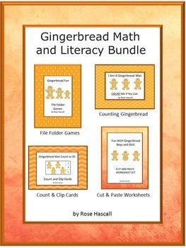 Bundle Gingerbread NO PREP/LOW Prep Math and Literacy Cent