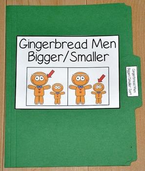 "Gingerbread Man File Folder Game--""Gingerbread Men Bigger/"