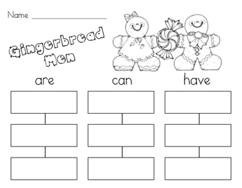 Gingerbread Men Writing Activity