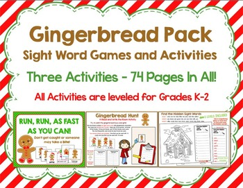 Gingerbread Pack:  Three Leveled Sight Word Gingerbread or