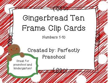 Gingerbread Ten Frame Clip Cards