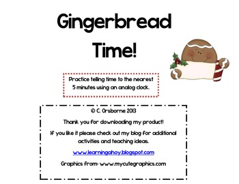 Gingerbread Time! ~reading an analog clock to the nearest