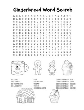 """""""Gingerbread"""" Word Search – Holiday Fun! (Black Line Version)"""