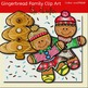 Gingerbread family clip art -Color and B&W.