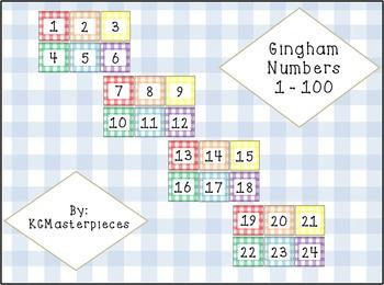 Gingham Calendar Numbers 1-100
