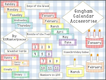 Gingham Complete Calendar Set