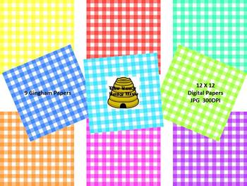 Gingham Digital Papers {9 backgrounds for personal & comme