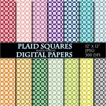 Gingham Digital Papers Rainbow Plaid Papers Scrapbook Prin