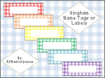 Gingham Name Tags or Labels