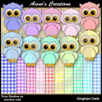 Gingham Owls Clipart & Papers