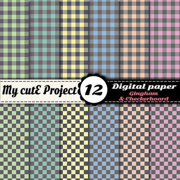 Gingham and checkerboard - - DIGITAL PAPER - Scrapbooking-