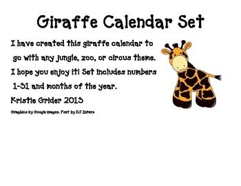 Giraffe Calendar Set