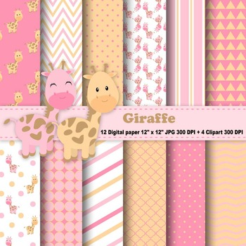 Giraffe Digital Paper & Clipart