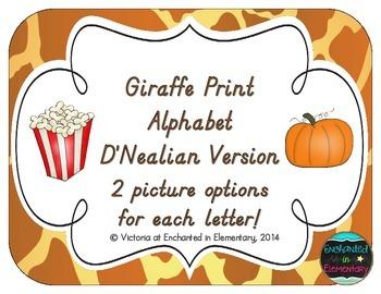 Giraffe Print Alphabet Cards: D'Nealian Version