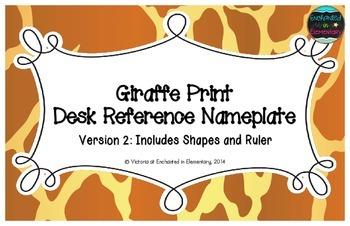 Giraffe Print Desk Reference Nameplates Version 2