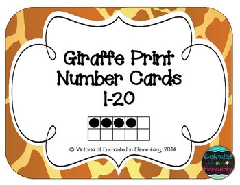 Giraffe Print Number Cards 1-20