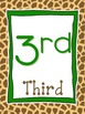 Giraffe Print Number Posters 1-20 and Counting by 10s and