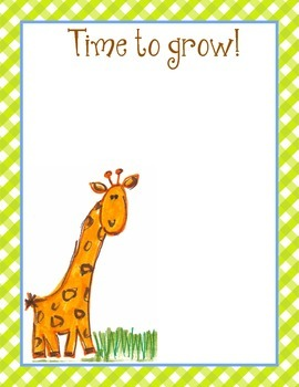 """Giraffe """"Time to Grow"""" Small Poster 8.5"""" x 11"""" Size"""