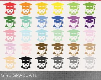 Girl Graduate Digital Clipart, Girl Graduate Graphics, Gir