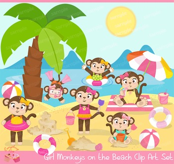 Girl Monkeys on the Beach Clipart Set