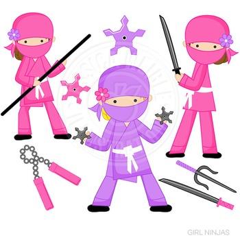 Girl Ninja Cute Digital Clipart, Martial Arts Clip Art, Pi