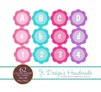 Girl Scalloped Cirlces Alphabet and Numbers Clipart Commer