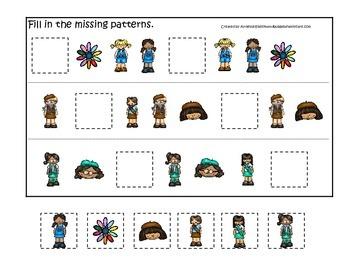 Girl Scouts themed Fill in the Missing Pattern preschool p