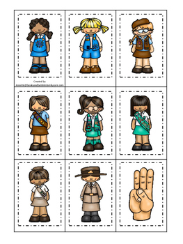 Girl Scouts themed Memory Matching preschool curriculum ga