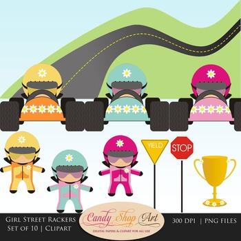 Girl Street Racers, Car Drivers, Race Car Clipart - Teache