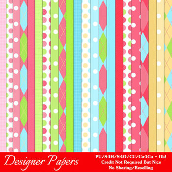Girl's Birthday A4 size Digital Papers by MarloDee Designs