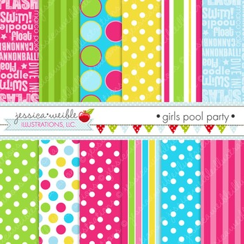 Girls Pool Party Matching Digital Papers, Pink Papers, Summer