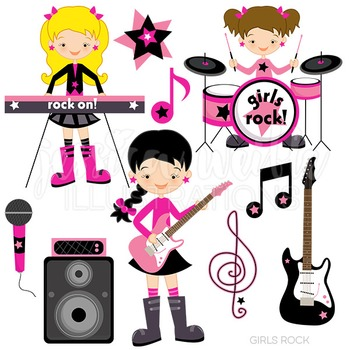 Girls Rock Cute Digital Clipart, Rock Band Clip Art