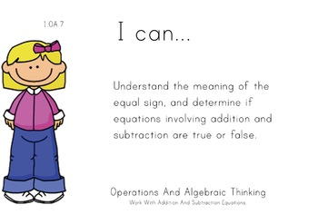 Girls Theme 1st grade math Common Core Posters first Grade