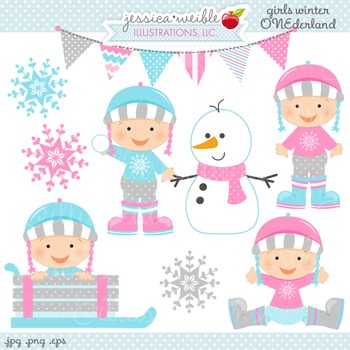 Girls Winter ONE-derland Cute Digital Clipart, Baby Girl W