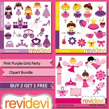Girls party clip art (3 packs) princess, ballerina, fairie