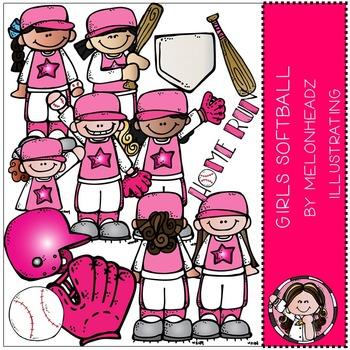 Melonheadz: Girl's softball clip art