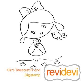 Girls tweeted friend (digital stamp, coloring image) S015,