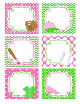 Girly Baseball Notes Cards