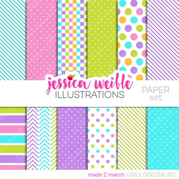 Girly Dinosaurs Digital Papers, Pink Purple Papers