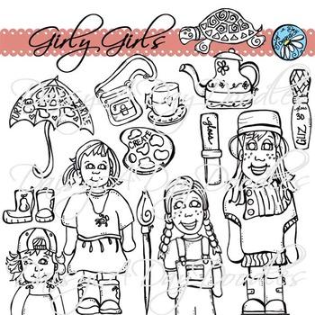 Girly Girls - Line Art
