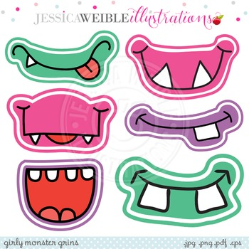 Girly Monster Grins Cute Digital Clipart, Monster Face Graphics