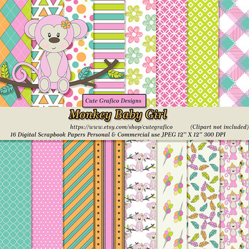 Girly Pink Monkey Clipart, Digital Paper, Pink, Lime, Turq