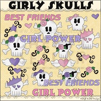 Girly Skulls Clip Art personal & commercial use C Seslar