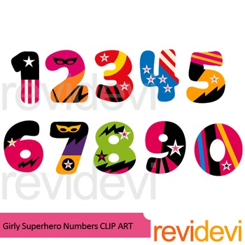 Girly Superhero Numbers clipart