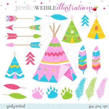 Girly Tribal Cute Clipart, Pink TeePee Graphics, Tribal Cl