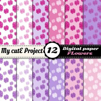 Girly flower digital paper - Romantic digital paper - Flow