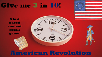 Give Me 3 in 10 American Revolution Game